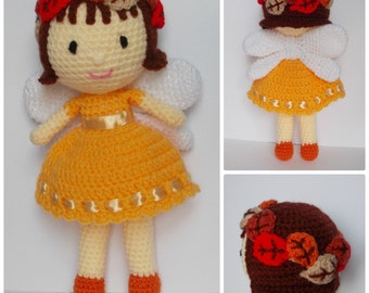 Autumn Fairy, Fall Fairy, fairy doll, crochet, toy