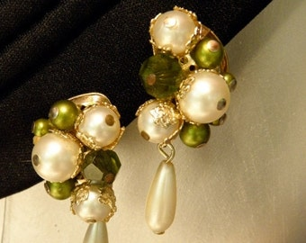 "20%OFF Gold Filigree 2 Tone Colored Pearl Rhinestone Vintage Earrings, 1960's,1 1/2"", Silver Clip,  Dangles"
