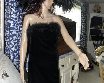 60% OFF Black Velvet Strapless Dress by Charlotte Russe, with Black Feather Boa Trim, sz L