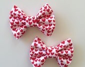 Red hearts bow, valentines day, valentines bow, heart bow, hair clip, hair bow