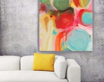 "Vivid Dreams. Geometrical Abstract Art, Wall Decor, Extra Large Abstract Colorful Contemporary Canvas Art Print up to 72"" by Irena Orlov"