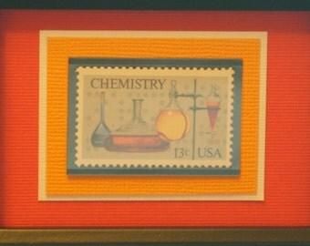 Vintage Framed Postage Stamp - Chemistry Stamp - No. 1685