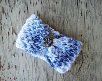 Super Thick Brioche Headband with Vintage Button   - Grey Marble-  FREE shipping options