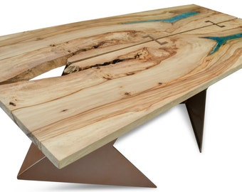 Resin inlaid dining or conference table on steel base