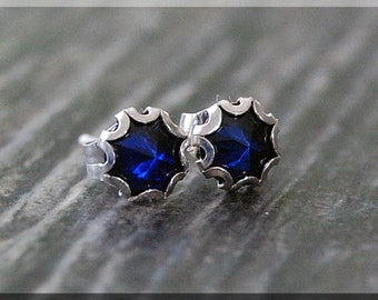 Sapphire Earrings. Sterling Silver September Sapphire Post Earrings, September Birthstone Earrings, Handmade Sapphire Stud earrings