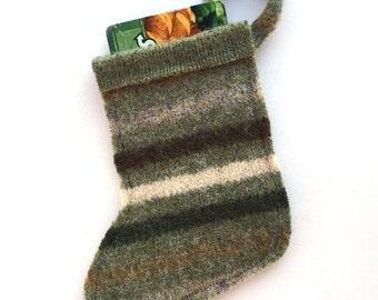 Christmas Stocking Gift Card Holder / Ornament - Felted Wool Green, Brown, Gray Striped - Upcycled Wool - Rustic Christmas Ornament / Decor