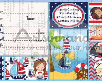 Girl Sailor Birthday Invitation