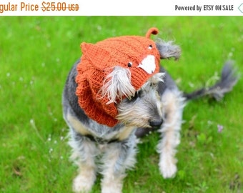 CHRISTMAS SALE Dog fox hat, hand crocheted, funny pet accessories, dog clothing, fox costume