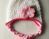 Spring baby beanie with ear flaps
