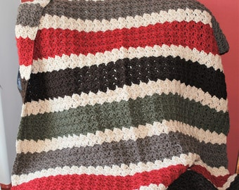 rugged stripes crochet baby blanket lap throw