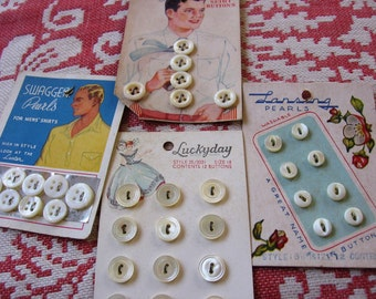 Pearl Buttons Cards Men's Vintage Shirt and Women's Dress Buttons on the 4 Original Display Cards as found from the Button Box at Emmetswyfe
