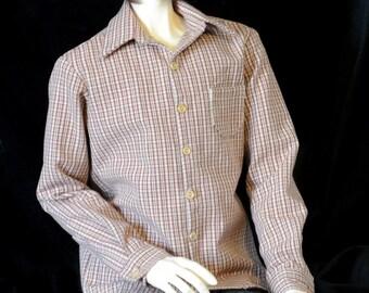 Dress Shirt of brown plaid for 70cm Super Senior Delf BJD and 64 cm Ringdoll guy