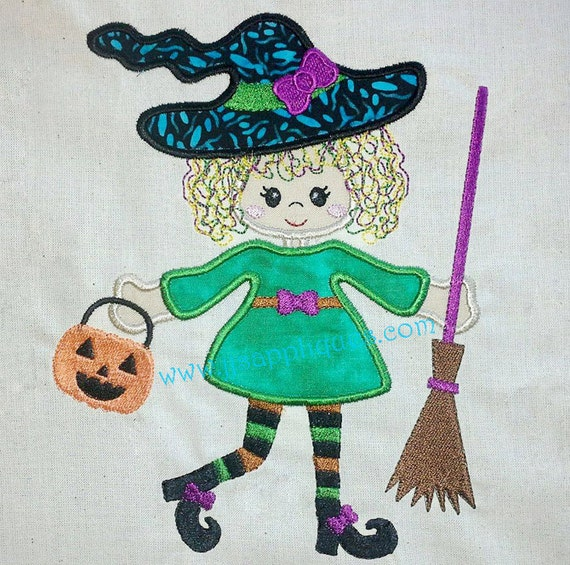 Instant Download - Halloween Designs Witch Design Embroidery Applique - Little Witch with Broomstick Design 4x4, 5x7, 6x10 hoop sizes