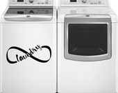 Laundry Room Decal, Laundry is Infinite Sticker, Wall Infinity Symbol, Appliance Decal, Laundry Room Art ,Washer Dryer Decal, Lemniscate