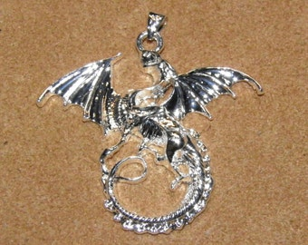 Sterling Silver Plated Dragon Pendant
