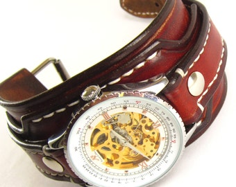 Vintage Wrist Watch, Mans Leather Watch, Bracelet watch, Leather Cuff, Cuff watch, Brown Watch