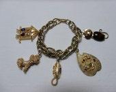 Vintage 1960's HobCo House of Borvani Gold Designer Novelty Charm Bracelet
