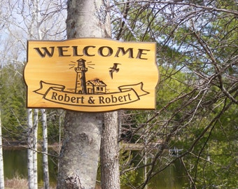 Welcome Sign Family Name  Custom Carved Camping RV-Sign