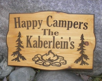 Camp Sign Personalized        Carved Wood Sign  Camping Sign Happy Campers