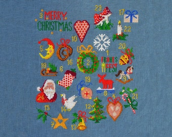 xmas cross stitch, cross stitch advent calendar, christmas embroidey pattern, contemporary embroidery, christmas diy