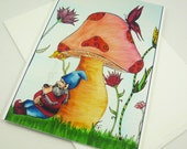 Art greeting card, gnome and mushroom, Art print cards, blank inside, gnome greeting card
