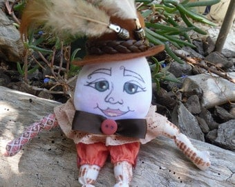 humpty dumpty, art doll ooak, soft cloth doll, collectable, gift idea, xmas,