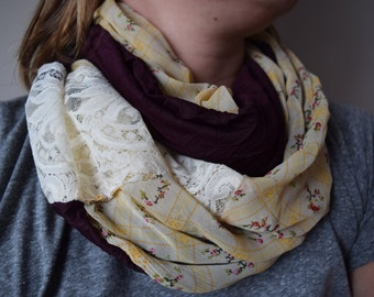 Sheer Plum and Mustard Yellow Floral Infinity Scarf with Cream Lace Accent - cowl, circle, purple, flowers
