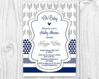 Baby shower boy navy blue and grey arrow, chevron, geometric printable invitation aztec inspiration grey arrows tribal inspired