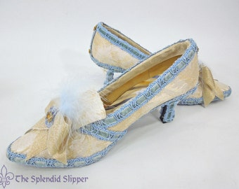 Marie Antoinette Shoes in Cream and Blue Decorated Heels
