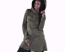 STEAMPUNK COAT with fake fur - Pixie coat, side lacing coat, laced up coat, psytrance coat, STEAMPUNK hooded coat, coat with hood, SKCOSLs