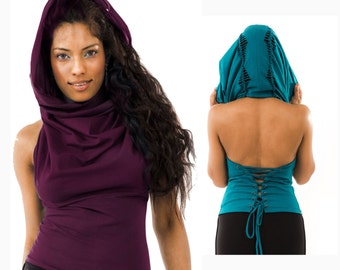 Pixie hood top, elf top, fairy top, psytrance top, STEAMPUNK Top, LCTOLOsm