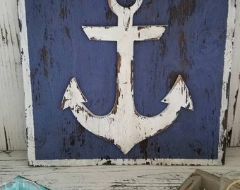 "Rustic Anchor plaque - vintage/chabby chic - nautical beach decor ""Anchor"""