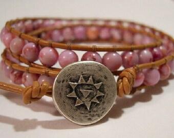 Wrap Bracelet, Beaded wrap bracelet, Beaded bracelet, Boho wrap bracelet, Leather wrap, Beaded wrap, Beaded leather wrap - 823