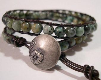Beaded wrap bracelet, Wrap bracelet, Beaded LeatherWrap, Boho bracelet, Beaded wrap - 841
