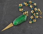 """EMERALD & TURQUOISE AGATE Spike Pendant - Solid Brass - Gemstone Chain or Plain Chain 19.5"""""""