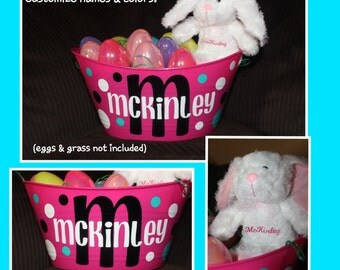 Personalized Easter Basket AND Bunny - MONOGRAM