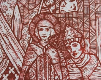 Christmas etching from stained glass window in red, perfect gift for art lovers