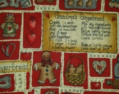 Fat quarter Grandma's Gingerbread with hearts quilting cotton