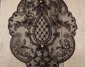 Large Black Lace Applique w/ Faux Pearl Embellishment
