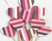 Striped Hearts - VALENTINES DAY - Cupcake Toppers