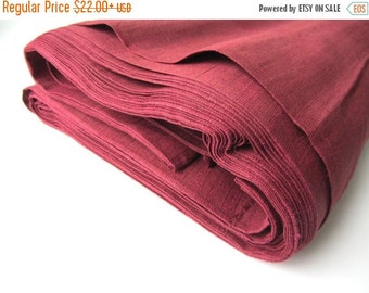 ON SALE Burgundy red raw silk India fabric nr 589 for full yard or meter