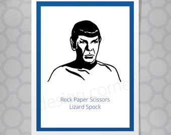 Funny Illustrated Spock Star Trek Birthday Card