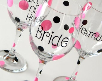 Bridal Party Wine Glasses, Bachelorette Party Wine Glasses, Bachelorette Party Gifts, Bridal Party Gift, Bridal Wine Glass