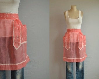 Vintage 1950s Apron / 50s Sheer Coral Organdy Rose Print Half Apron with Lace Trim