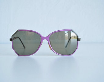 Vintage 70s Sunglasses /  1970s Purple Grey Aluminum Aviator Eyeglasses / Frame Italy