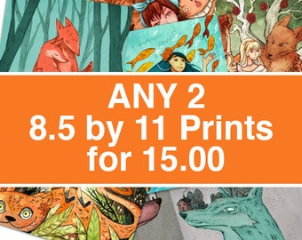 Two  8.5 by 11 prints for 15.00 USD
