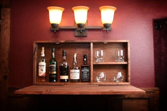 rustic wooden murphy bar hidden liquor cabinet. Black Bedroom Furniture Sets. Home Design Ideas