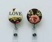 SHOP CLOSING SALE  Love and Rose Fabric Covered Button Badge Reel - Retractable Badge Holder - Nurse Badge Reel - Name Badge Holder
