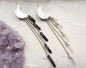 Crystalline Queen- crescent moon hair clip with raw crystal fringe