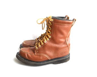 Men Boot 10 Vintage Men Work Boot Men Lace Up Boot Men Brown Boot Brown Leather